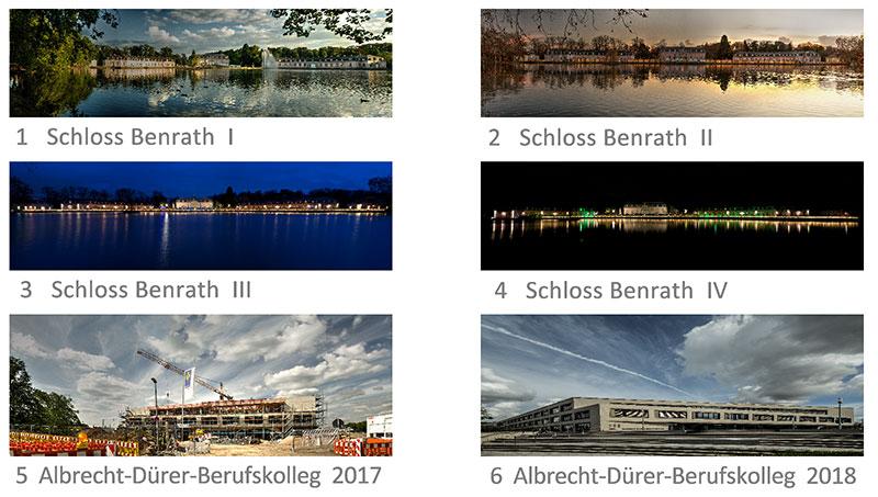 Harald Wirtz: Benrather Panoramen. Drucke in der Galerie Schwarzweiß in Düsseldorf.